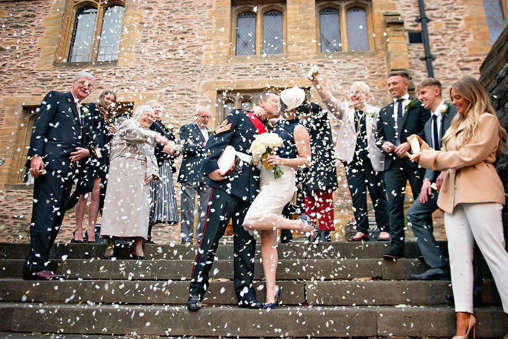 Somerset Wedding Photographer on Steps with Confetti